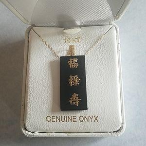 10kt genuine onyx necklace